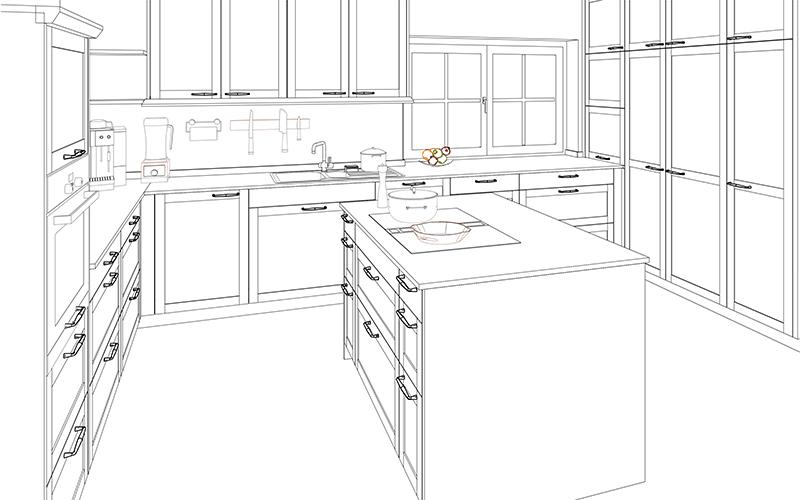 Zeichnung für die Visualisierung einer Küche